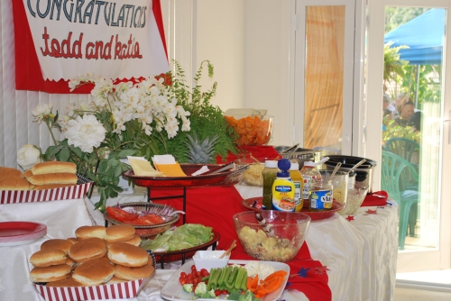 We decided to keep the menu simple by barbecuing, but we made a beautiful buffet in the dining room.