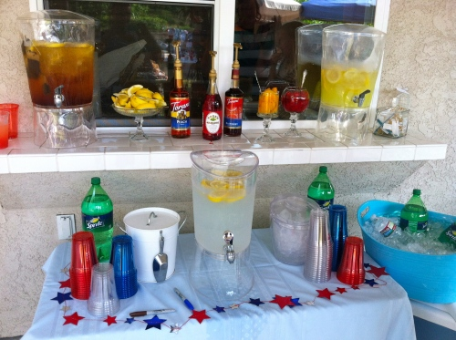For the drinks, I kept it simple again, by sticking with lemonade, iced tea, and water.  But I classed it up a bit by putting out some fancy garnishes and flavoring syrups.  The drink station was a hit.