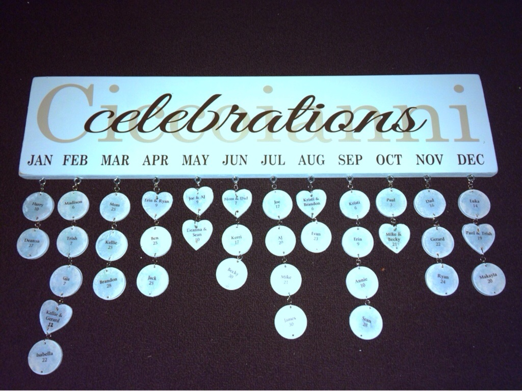 Family Birthday Calendar Cicco Creations