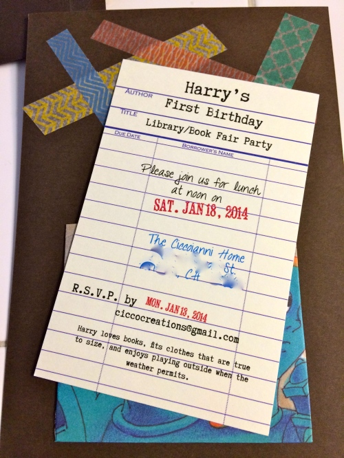 I mimicked the old libabry check-out cards for the invite.  I bought some old books at a thrift store to create a pocket that the card would slip into.